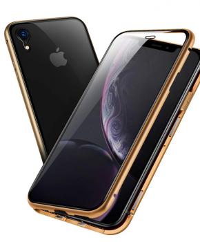 Magnetische case met voor - achterkant gehard glas voor de iPhone XR - Goud