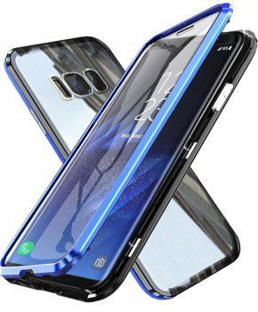 Magnetische case met voor - achterkant gehard glas voor de Samsung Galaxy S8 - Blauw