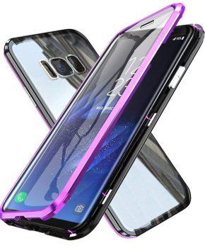 Magnetische case met voor - achterkant gehard glas voor de Samsung Galaxy S8 - Paars