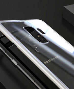 Magnetische case met voor - achterkant gehard glas voor de Samsung Galaxy S9 - Zilver