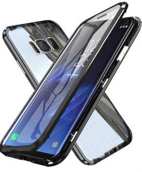 Magnetische case met voor - achterkant gehard glas voor de Samsung Galaxy S9 - zwart