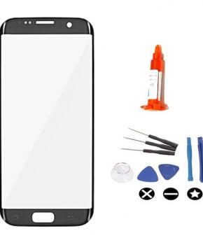 Voor Samsung Galaxy S7 Edge vervangglas + loca lijm - zwart