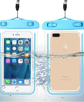 waterdichte telefoonzak - glow in the dark - blauw