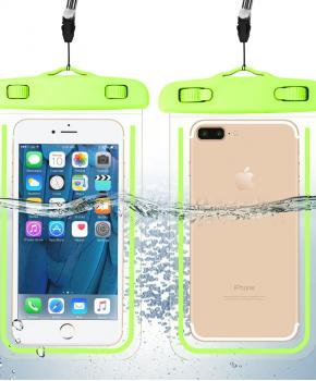 waterdichte telefoonzak - glow in the dark - groen