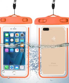 waterdichte telefoonzak - glow in the dark - Oranje