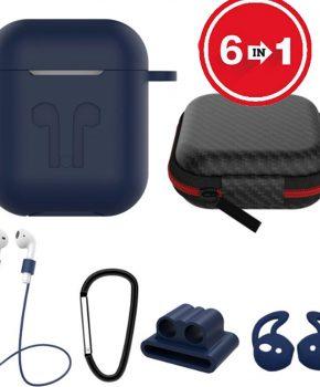 6 in 1 siliconen case met accessoires geschikt voor AirPods - blauw