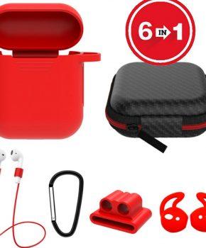 6 in 1 siliconen case met accessoires geschikt voor AirPods - rood