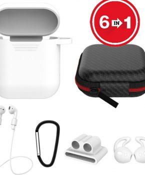 6 in 1 siliconen case met accessoires geschikt voor AirPods - wit
