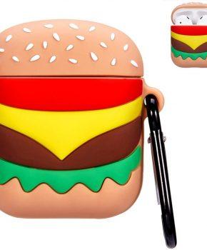 Cartoon Silicone Case voor Apple Airpods - hamburger - met karabijn