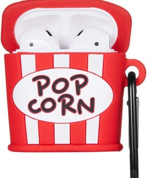 Cartoon Silicone Case voor Apple Airpods - popcorn - met karabijn