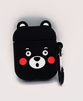 Cartoon Silicone Case voor Apple Airpods - cute black bear - met karabijn