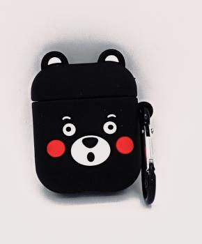 Cartoon Silicone Case voor Apple Airpods - cute black bear - met karabijn