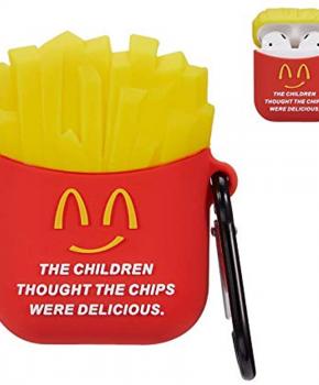 Cartoon Silicone Case voor Apple Airpods - delicious fries - met karabijn