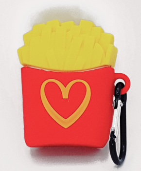 Cartoon Silicone Case voor Apple Airpods - i love fries - met karabijn