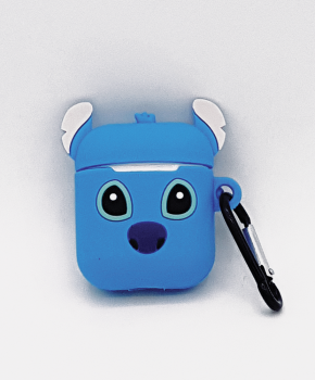Cartoon Silicone Case voor Apple Airpods - blue puppy love - met karabijn