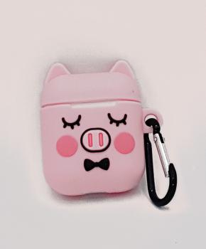 Cartoon Silicone Case voor Apple Airpods - cute piggy sleep - met karabijn