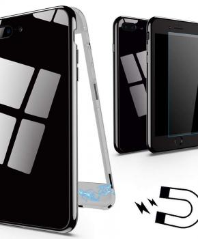 Magnetische case met gekleurd achterglas voor de iPhone 7/8 Plus- zwart
