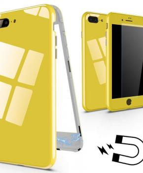 Magnetische case met gekleurd achterglas voor de iPhone 7/ 8 Plus- geel