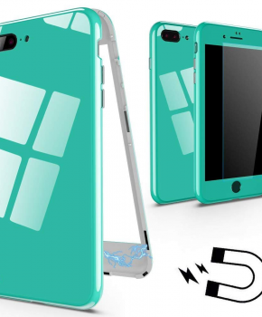 Magnetische case met gekleurd achterglas voor de iPhone 7/8 plus - groen