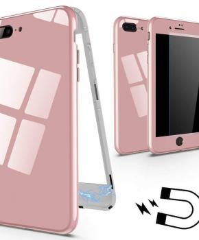 Magnetische case met gekleurd achterglas voor de iPhone 7/ 8 - roze
