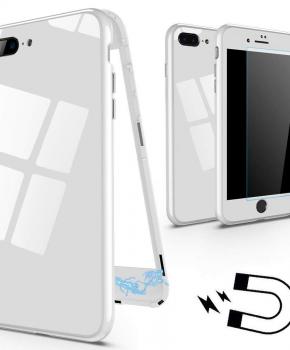 Magnetische case met gekleurd achterglas voor de iPhone 7/ 8 Plus - wit