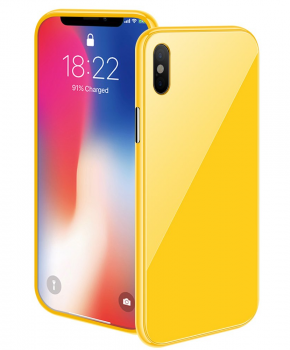 Magnetische case met gekleurd achterglas voor de iPhone X/ Xs – geel