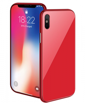 Magnetische case met gekleurd achterglas voor de iPhone X/ Xs – rood