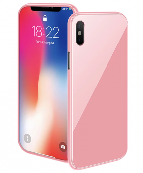 Magnetische case met gekleurd achterglas voor de iPhone X/ Xs – roze