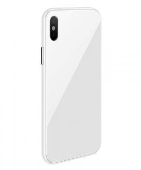 Magnetische case met gekleurd achterglas voor de iPhone XR –Wit