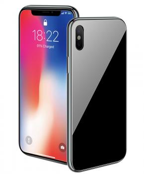 Magnetische case met gekleurd achterglas voor de iPhone XR – zwart