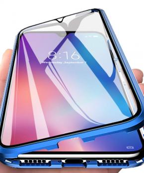 Magnetische aluminium case - vol glas - voor de Samsung A70 - blauw