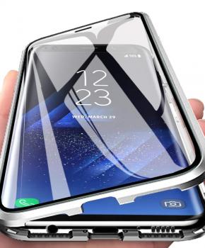 Magnetische aluminium case - vol glas - voor de Samsung A70 - zilver