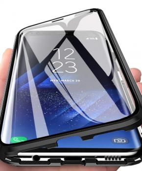 Magnetische aluminium case - vol glas - voor de Samsung A70 - zwart