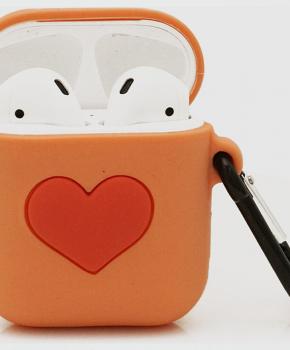 Cartoon Airpods Silicone Case Cover Hoesje voor Apple Airpods - Orange Love- met karabijn