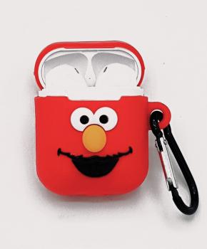 Cartoon Airpods Silicone Case Cover Hoesje voor Apple Airpods - Red smiling- met karabijn