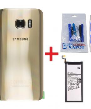 Voor Samsung Galaxy S7 Edge achterkant + batterij - goud