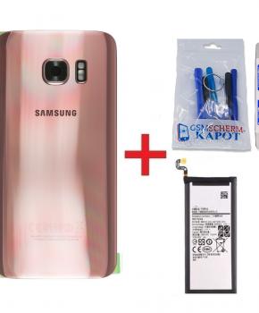 Voor Samsung Galaxy S7 Edge achterkant + batterij - rose goud