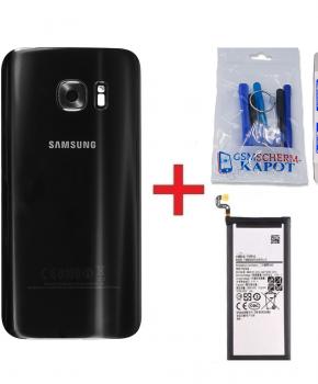 Voor Samsung Galaxy S7 Edge achterkant + batterij - zwart