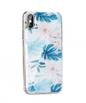 Forcell MARBLE Case voor Samsung Galaxy S10 - blue leaves