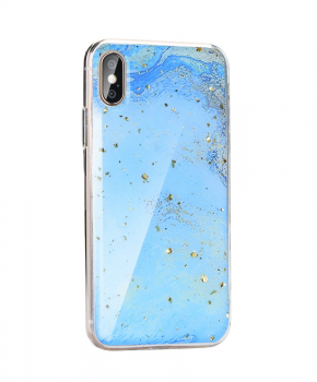 Forcell MARBLE Case voor iPhone X/ Xs - glitter blue