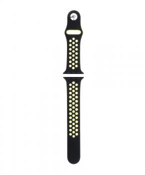 Sport strap compatible met Apple Watch 38/40mm / C002/ zwart - lime