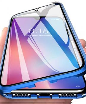 """Magnetische aluminium case volledig van glas - iPhone 11 6.1 """" - blauw"""