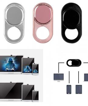 3 pack webcam cover - 3 kleuren - metaal ovaal