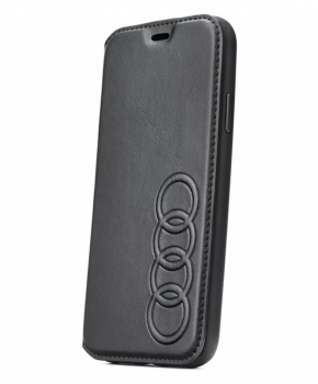 Originele Audi Lederen folio case Voor iPhone Xs Max - zwart