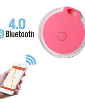 Mini tracker - bluetooth tracker - rond Crystal roze