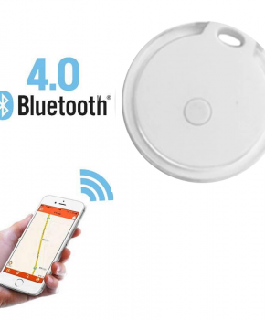 Mini tracker - bluetooth tracker - rond Crystal wit