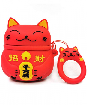 Cartoon Silicone Case voor Apple Airpods - Chinese lucky cat - rood