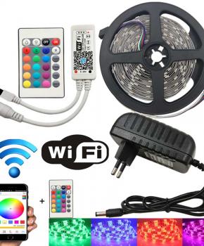 5Meter RGB multicolor Ledstrip met WiFi functie - IP65 - 5050 60 Led/m
