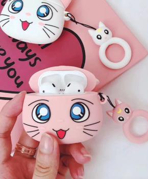 Cartoon Silicone Case voor Apple Airpods Pro - Pink luna cat