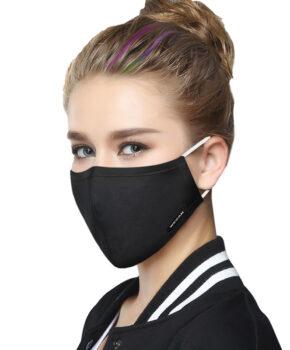 Katoenen fashion Gezichtsmasker met oorlussen - zwart -wasbaar